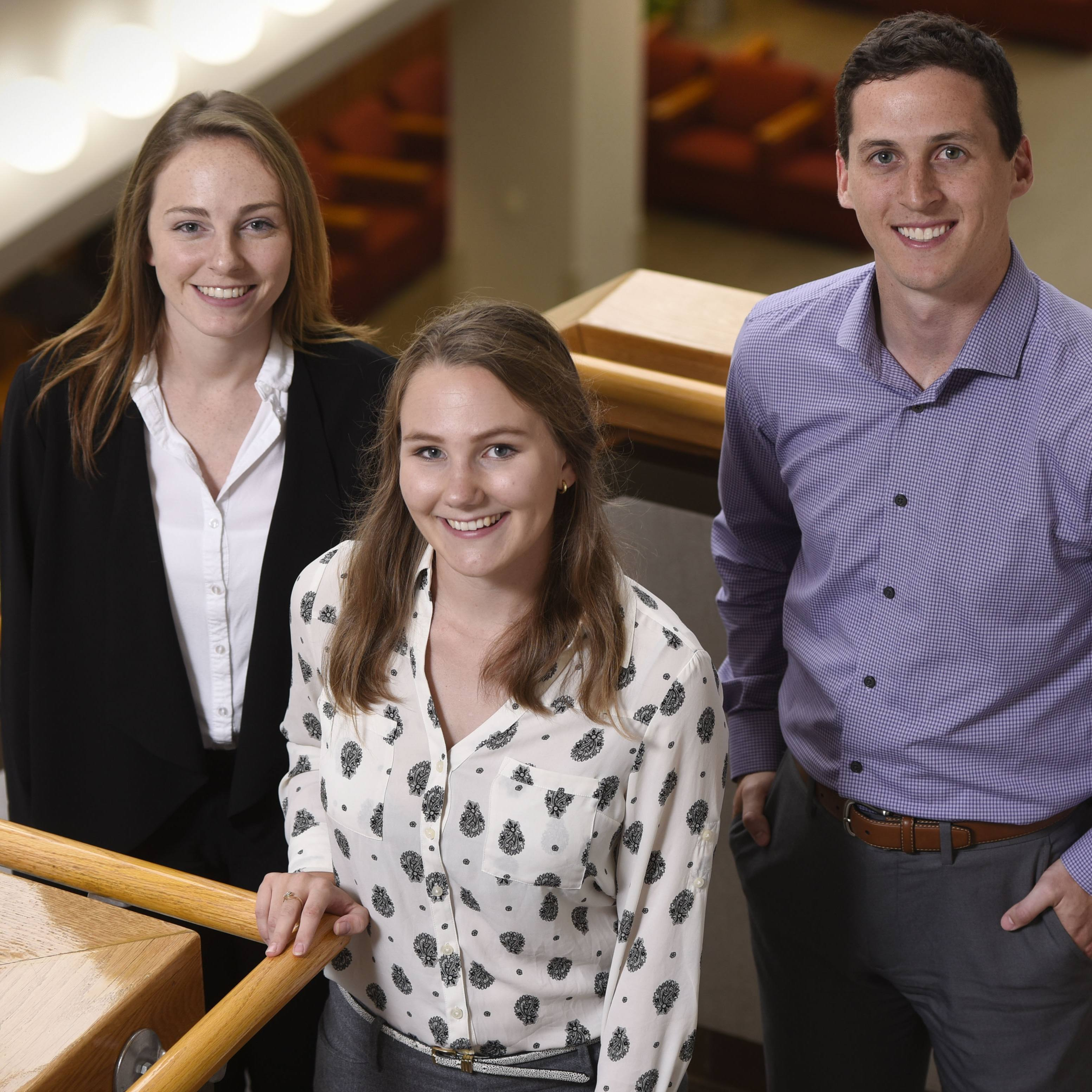 The first students in Mayo Clinic's Regenerative Sciences Training Program are, from left, Emma Goddery, Paige Arneson and Christopher Paradise.
