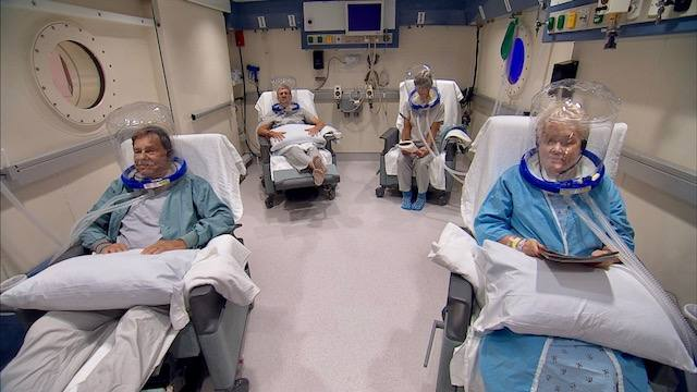 patients receiving treatment in the hyperbaric oxygen therapy room