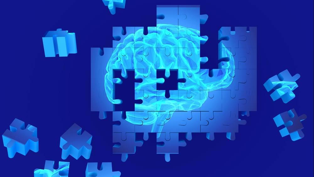 La investigación sobre el cerebro humano y la pérdida de la memoria como símbolo del concepto del alzhéimer, con piezas faltantes en el rompecabezas