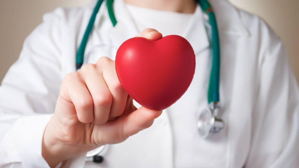 Un corazón de plástico rojo en la mano de una médica