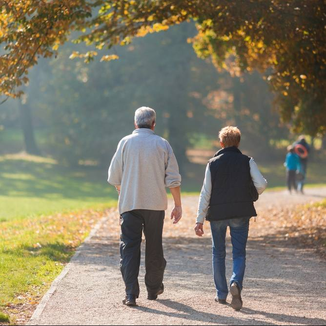 Senior citizen couple taking a walk in a park during autumn morning
