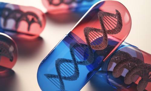 medicine capsules with DNA strand inside representing pharmacogenetics or pharmacogenomics