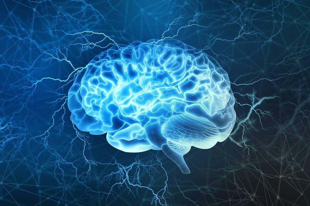 Ilustración digital de un cerebro humano con actividad eléctrica en el trasfondo