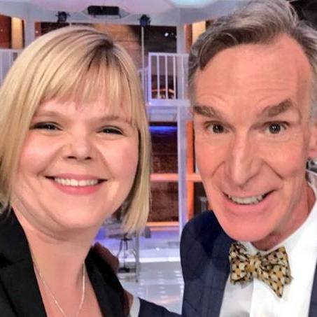 Kristin Swanson, Ph.D., a math oncologist at Mayo Clinic and Bill Nye