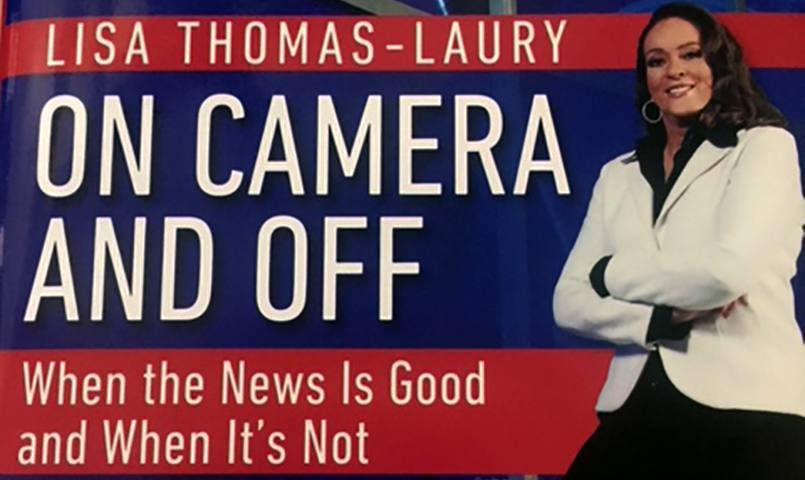 the cover of Lisa Thomas-Laury's book with her in a white jacket and smiling