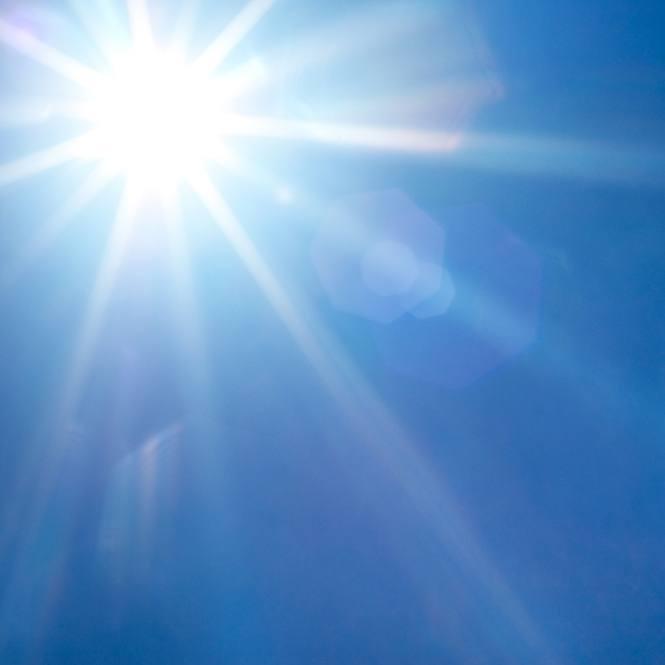 bright sunlight in a beautiful clear blue sky