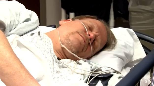 colonoscopy patient in procedure room, under anesthetic