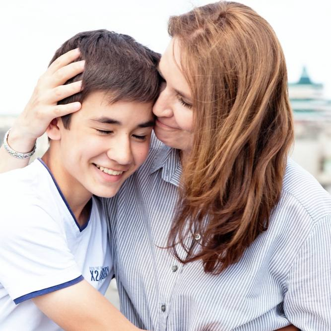Mother with teenage son