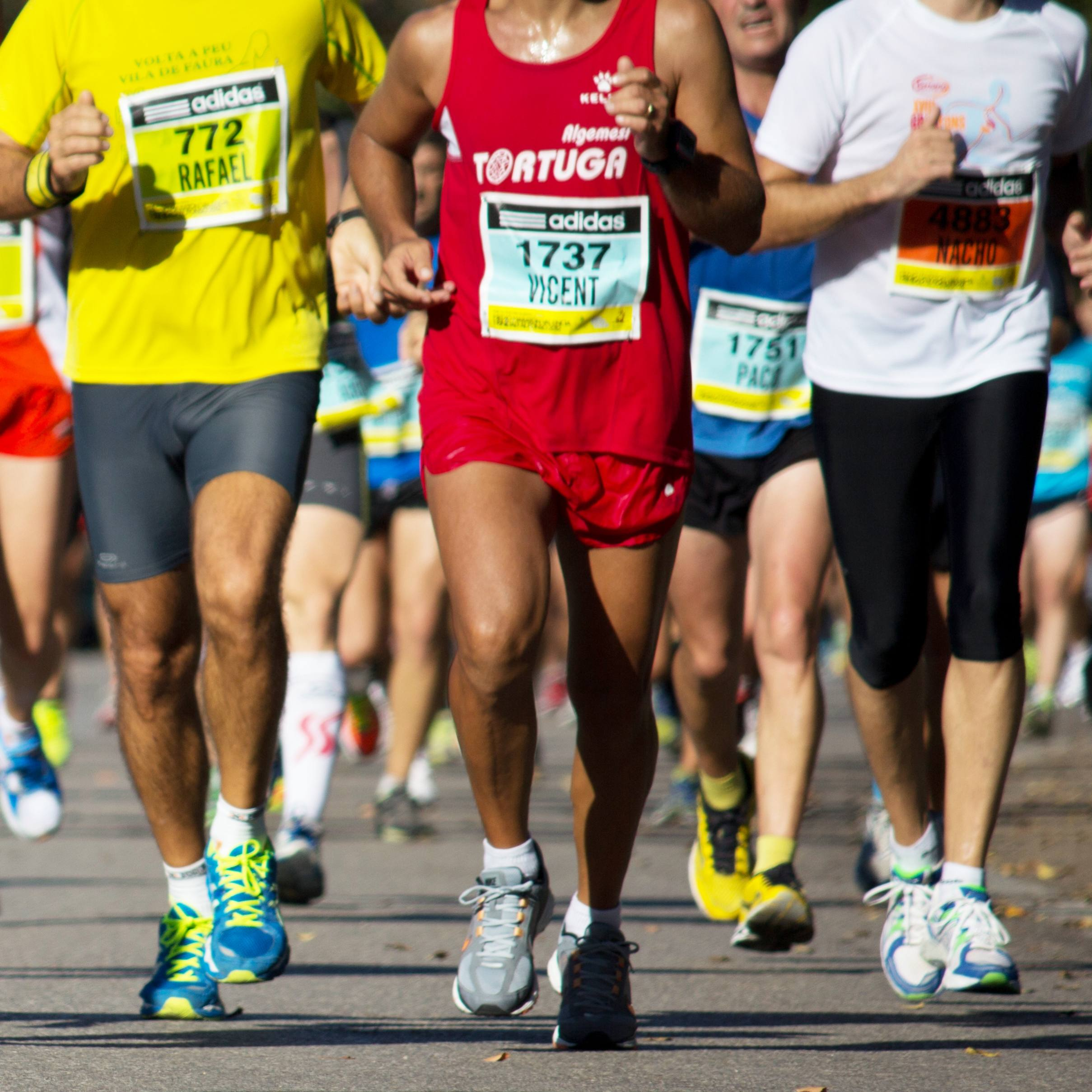 legs and feet of a large group of runners in a marathon race on pavement or a road