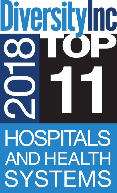 Logotipo de los principales 11 hospitales y sistemas de salud de DiversityInc para 2018