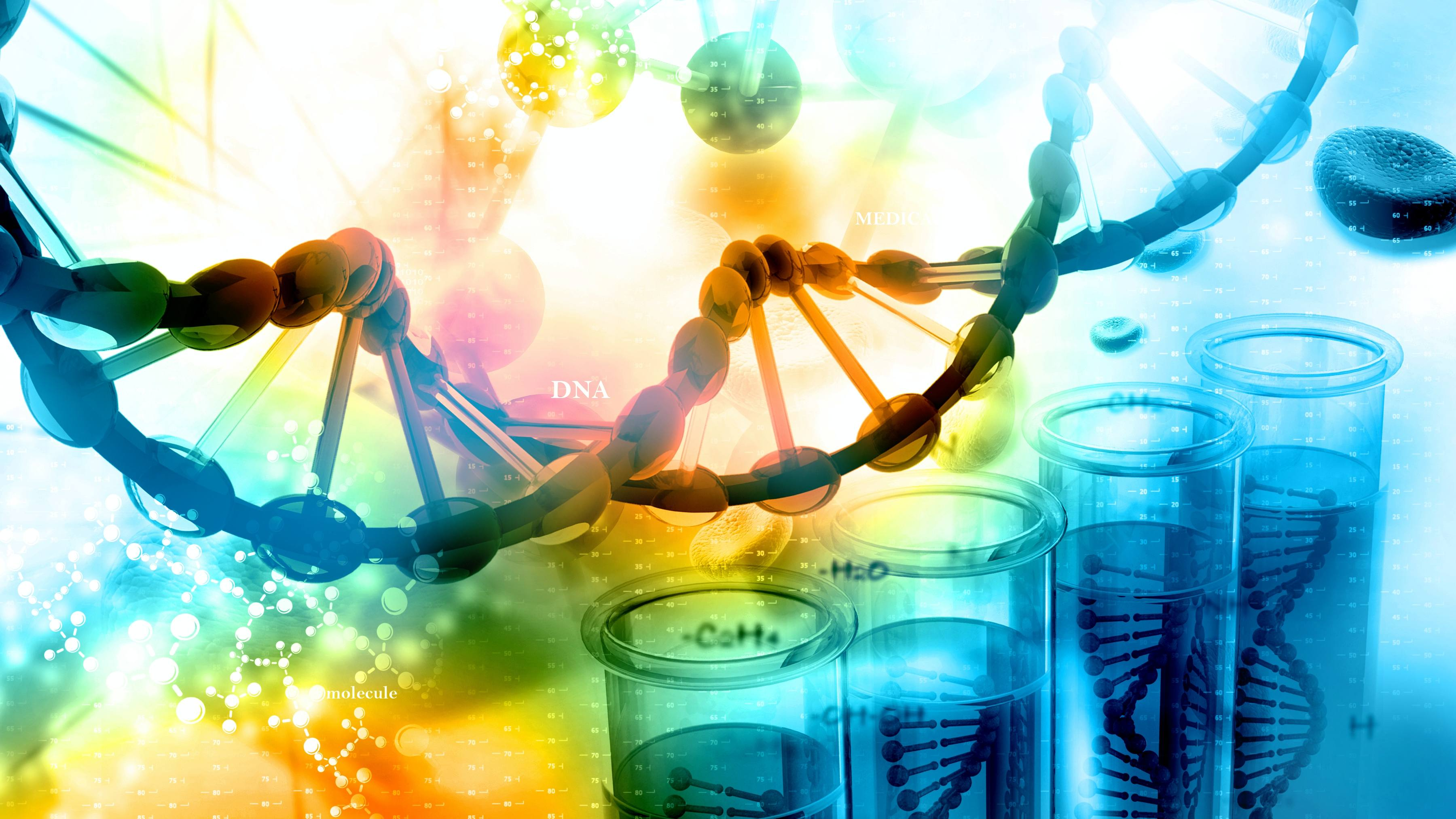 DNA helix on the colored background. 3D illustration