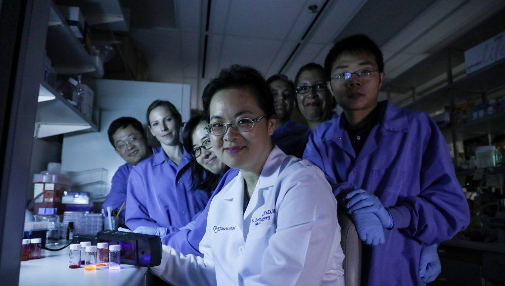 graduate student Christina von Roemeling in the lab with her colleagues and research team