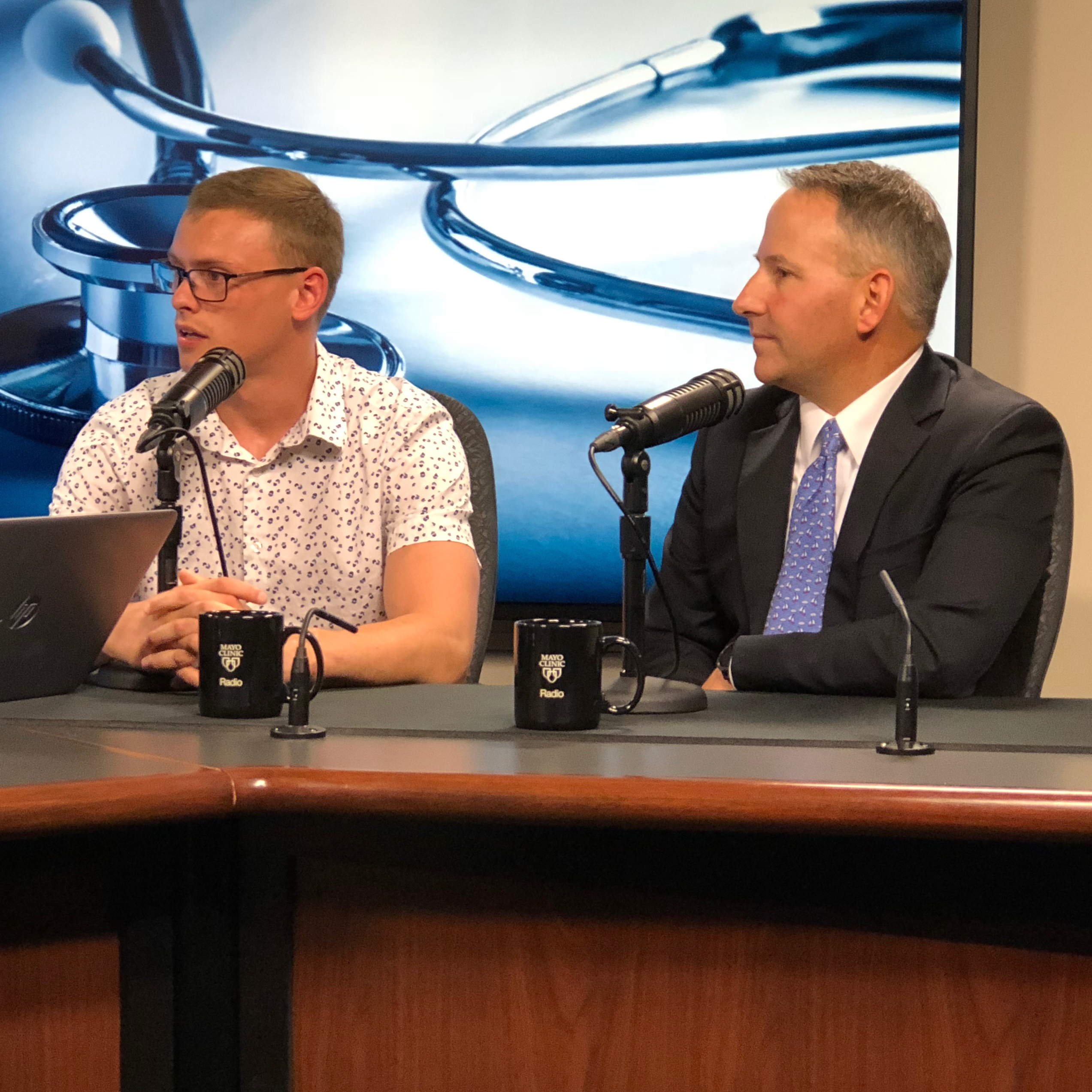Dr. David Dennison and Kennedy Folkedahl being interviewed on Mayo Clinic Radio
