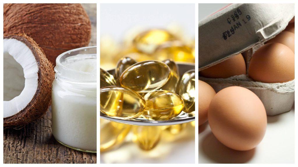 Un collage con aceite de coco, suplementos omega-3 y huevos representa los mitos de una alimentación sana para el corazón