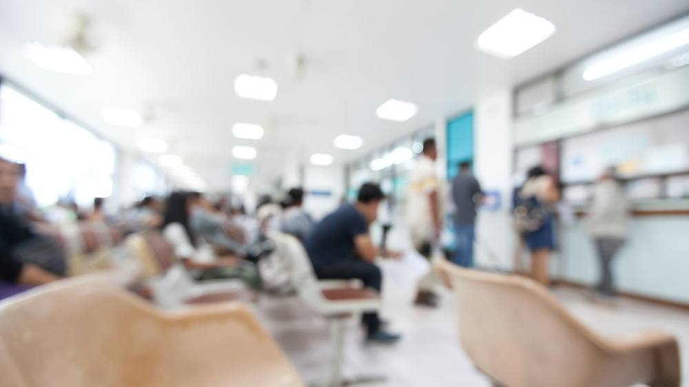 an urgent care, emergency department, or maybe a pharmacy waiting room for patients