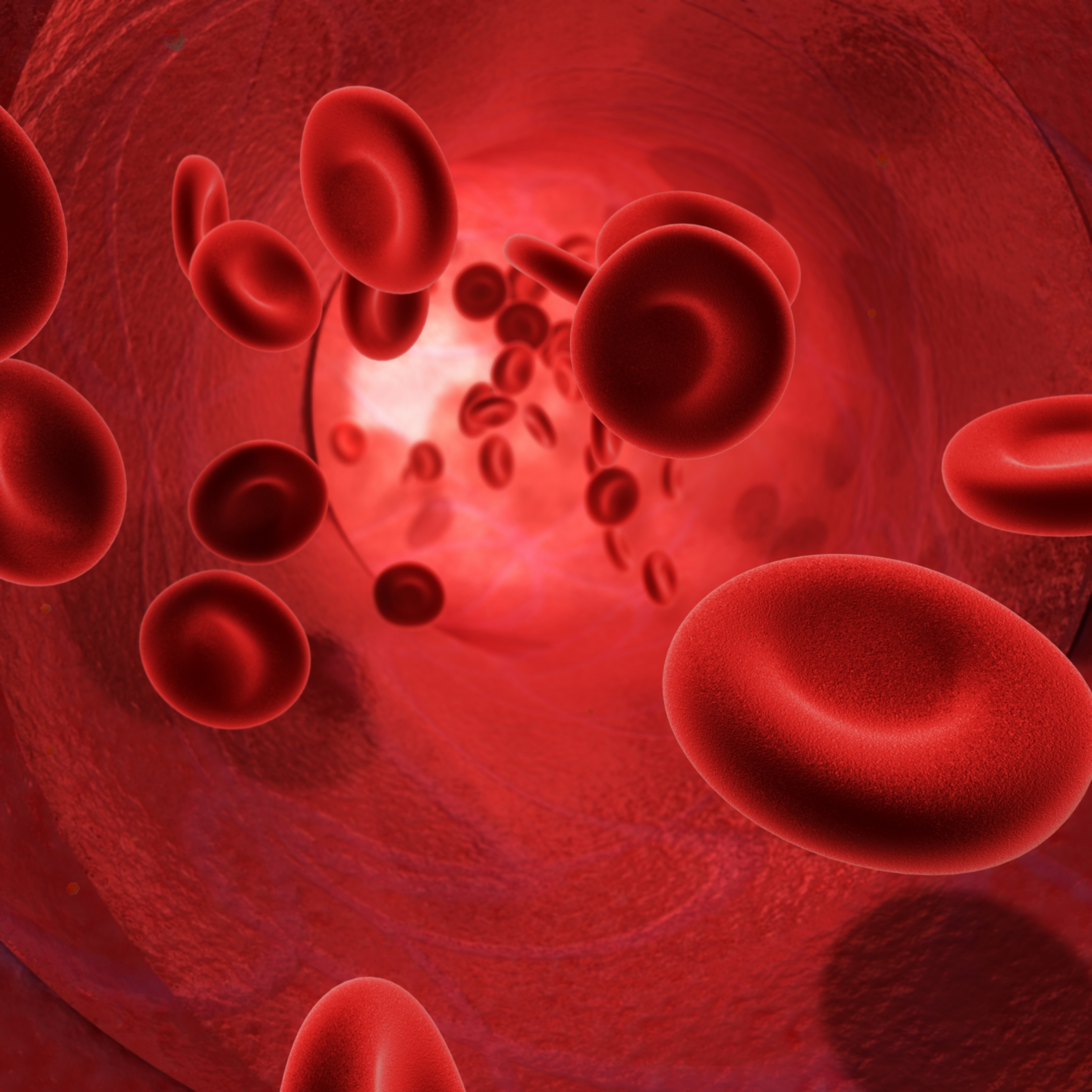 3d image of the flow of blood inside an artery