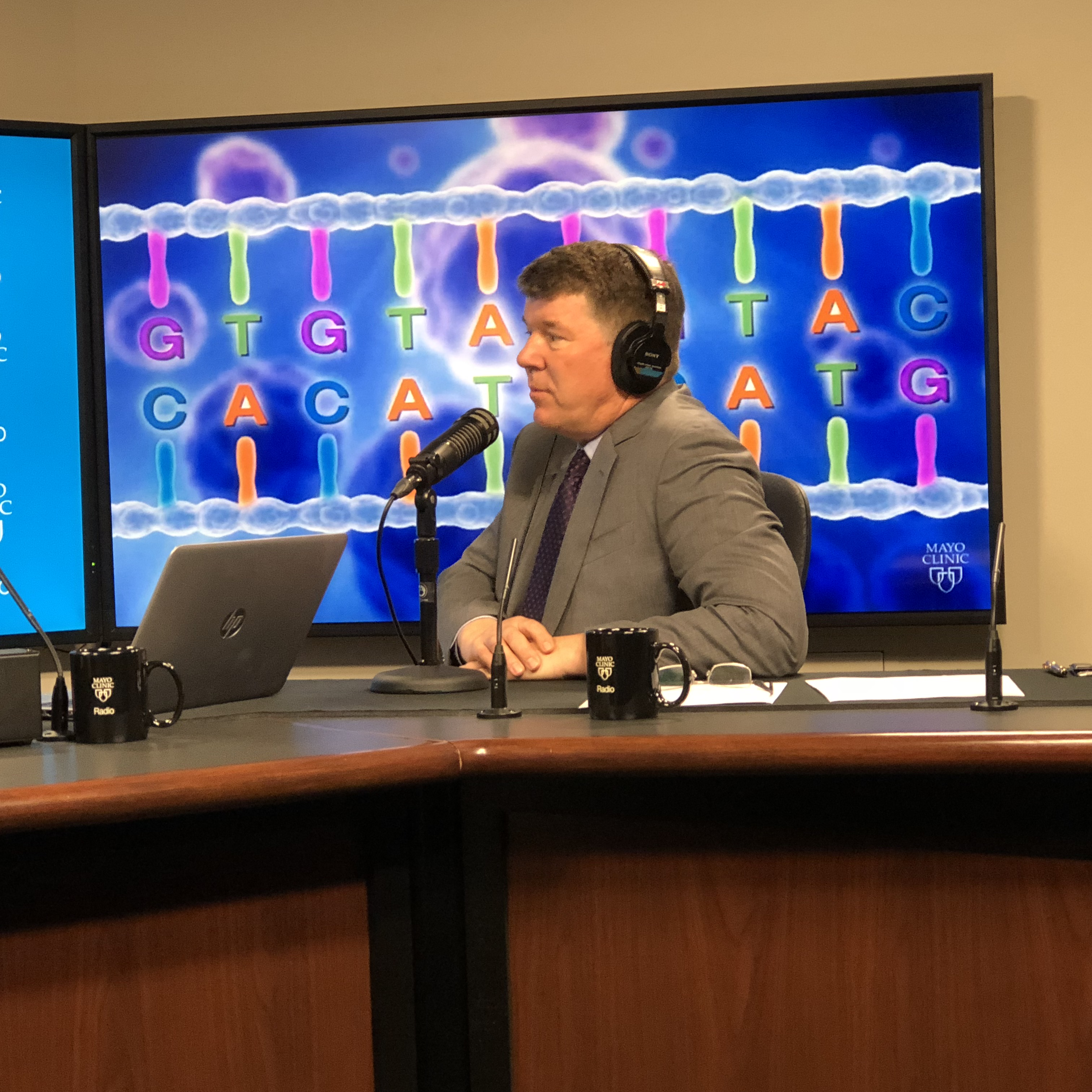 Dr. Keith Stewart being interviewed by Mayo Clinic Radio