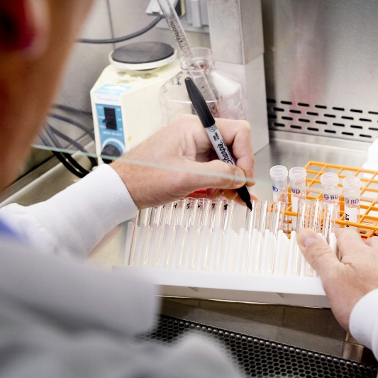 a research workers marking test tubes in a Mayo Clinic vaccine research lab
