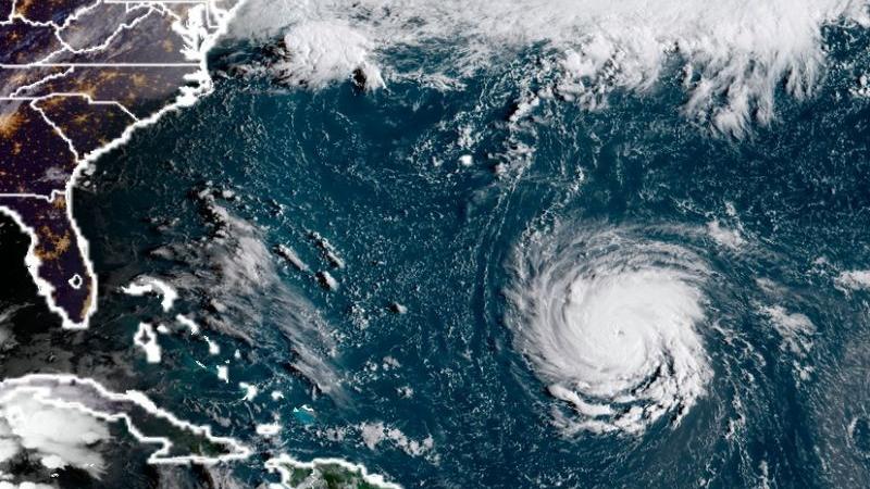 Imagen de satélite del huracán Florence cortesía de la Oficina Nacional de Administración Oceánica y Atmosférica