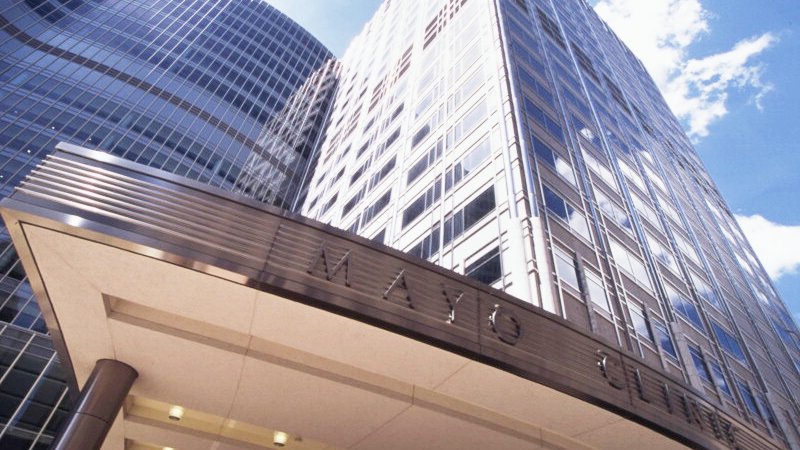 Mayo Clinic Gonda Building entrance with blue sky in the background