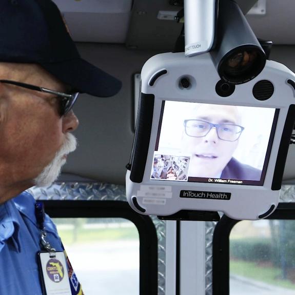 Dr. David Freeman, neurologist, performs mobile telestroke assessment
