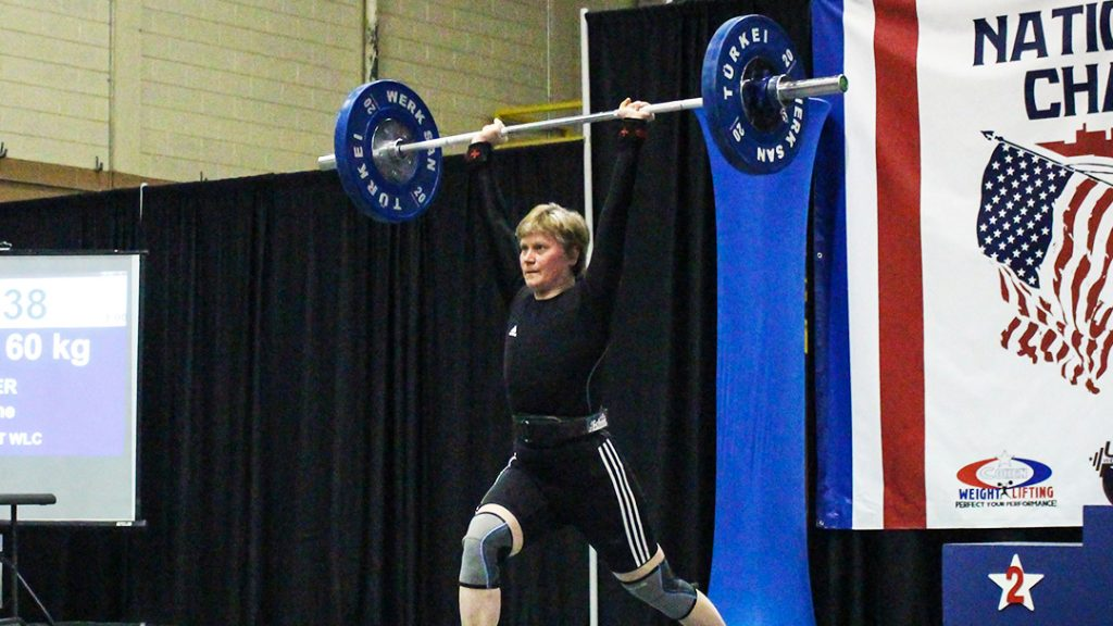 In the Loop patient Marianne Huebner, Ph.D., participating in a weightlifing competition