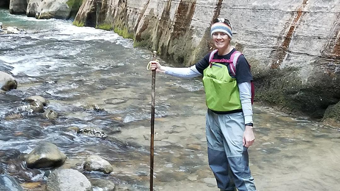 Sharing Mayo Clinic patient Jennifer Tetler hiking in a rocky stream