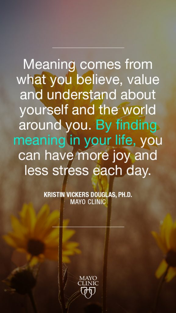 """""""Meaning comes from what you believe, value and understand about yourself and the world around you. By finding meaning and purpose in your life, you can have more joy and less stress each day."""" – Kristin Vickers Douglas, Ph.D."""