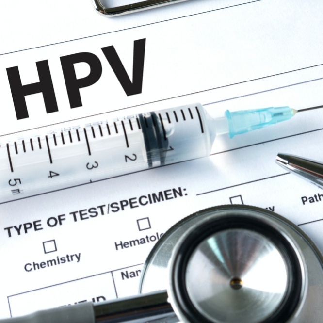 Virus vaccine with syringe and stethoscope HPV criteria paper for medical record