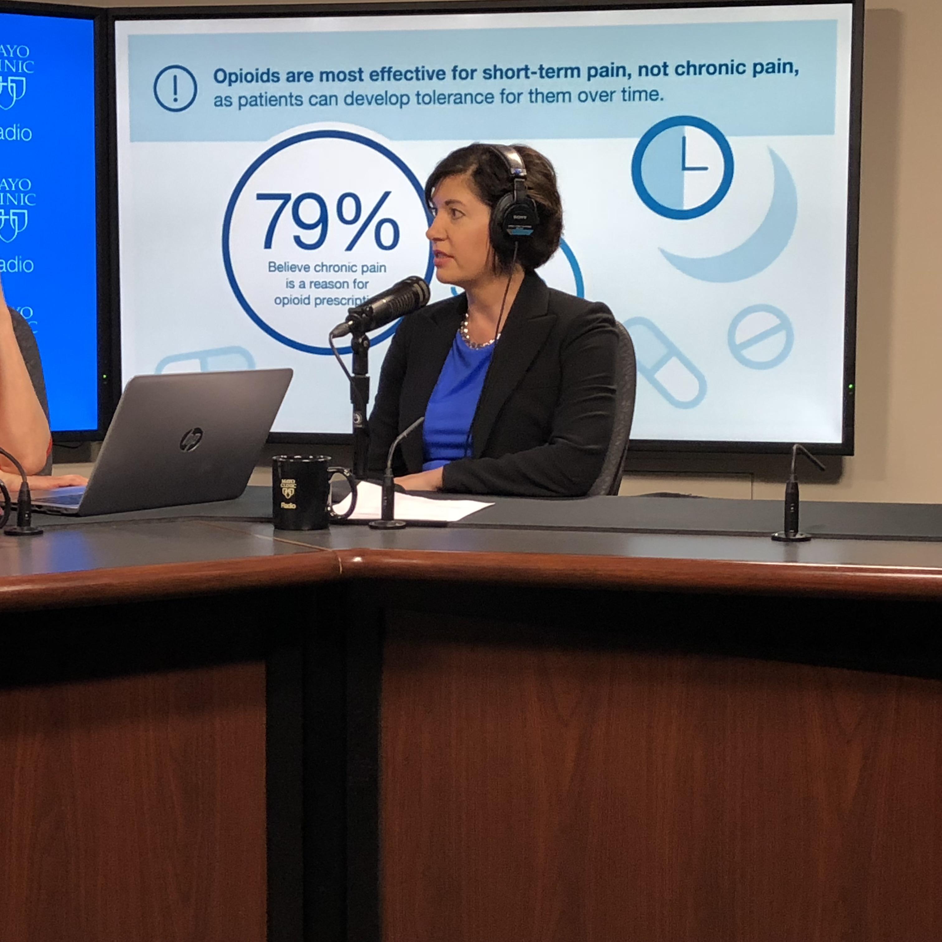 Dr. Halena Gazelka being interviewed on Mayo Clinic Radio