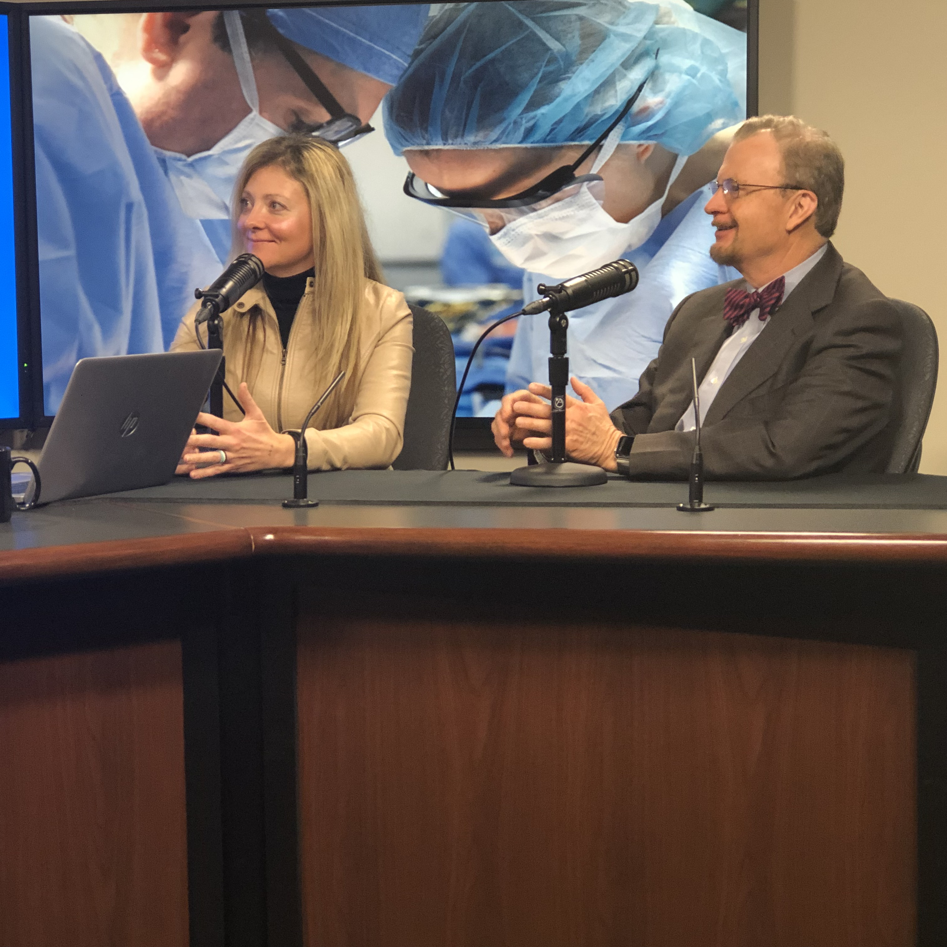 Mollie Luhman and Dr. Mark Stegall being interviewed on Mayo Clinic Radio