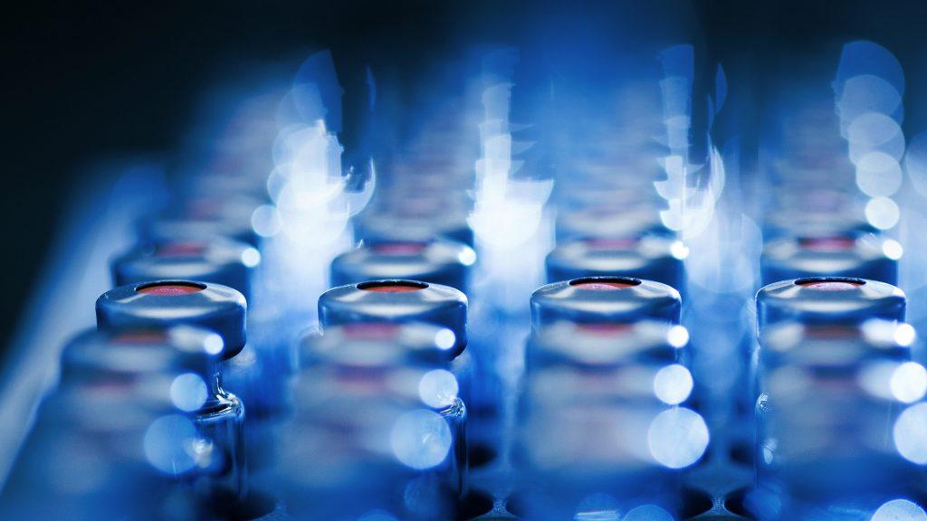 Filas de tubos de ensayo