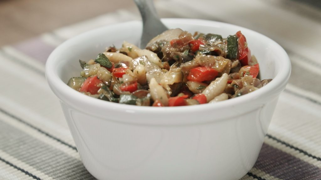 a bowl of whole-wheat orzo with roasted vegetables