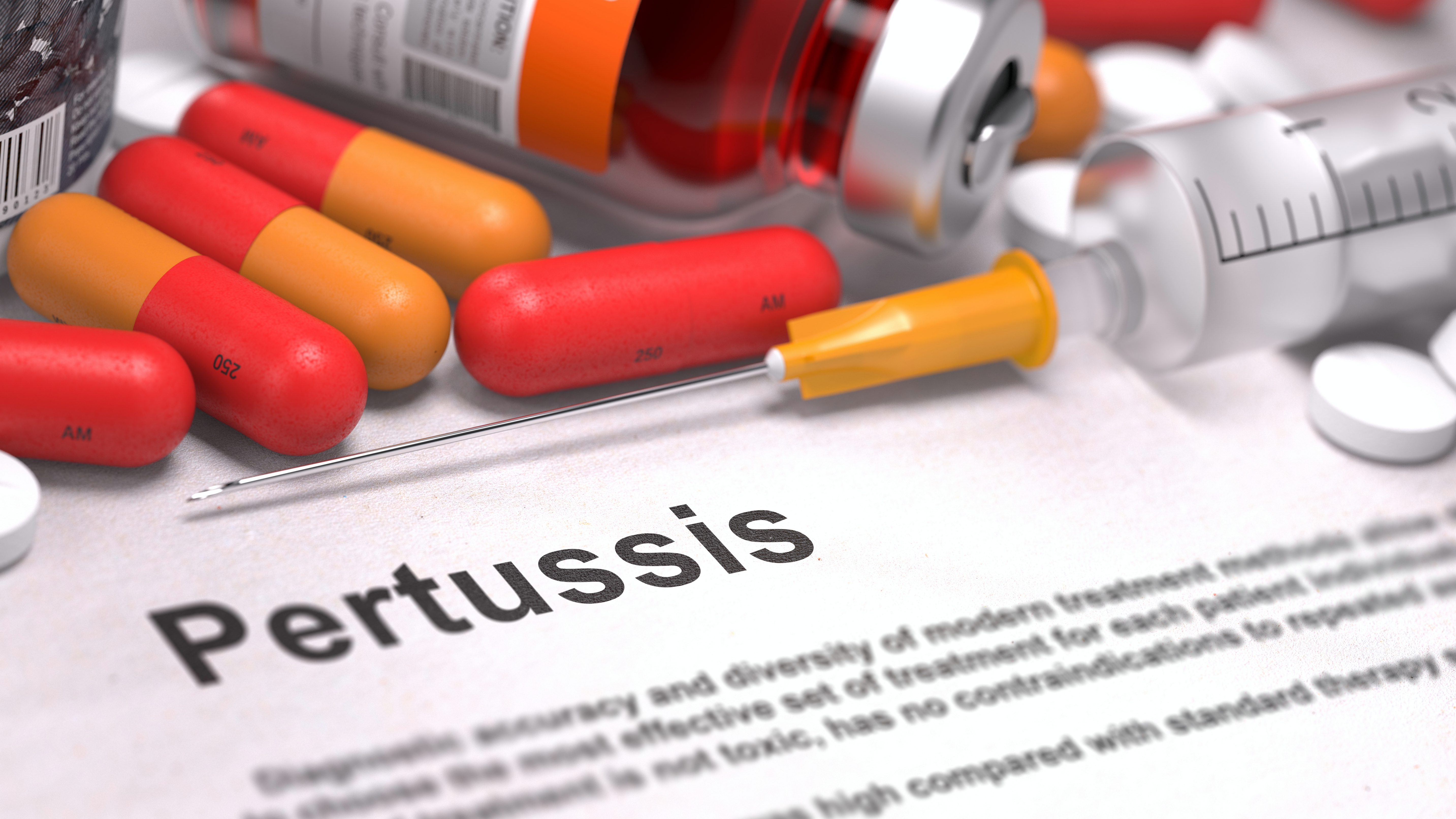 Pertussis - Printed Diagnosis with Red Pills, Injections and Syringe.