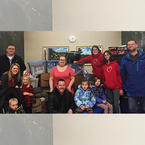 """some of the """"heart families"""" who support Linsey Rippy's annual toy drive, including the Waletzkos, the Rippys and the Ulrichs - In the Loop story"""