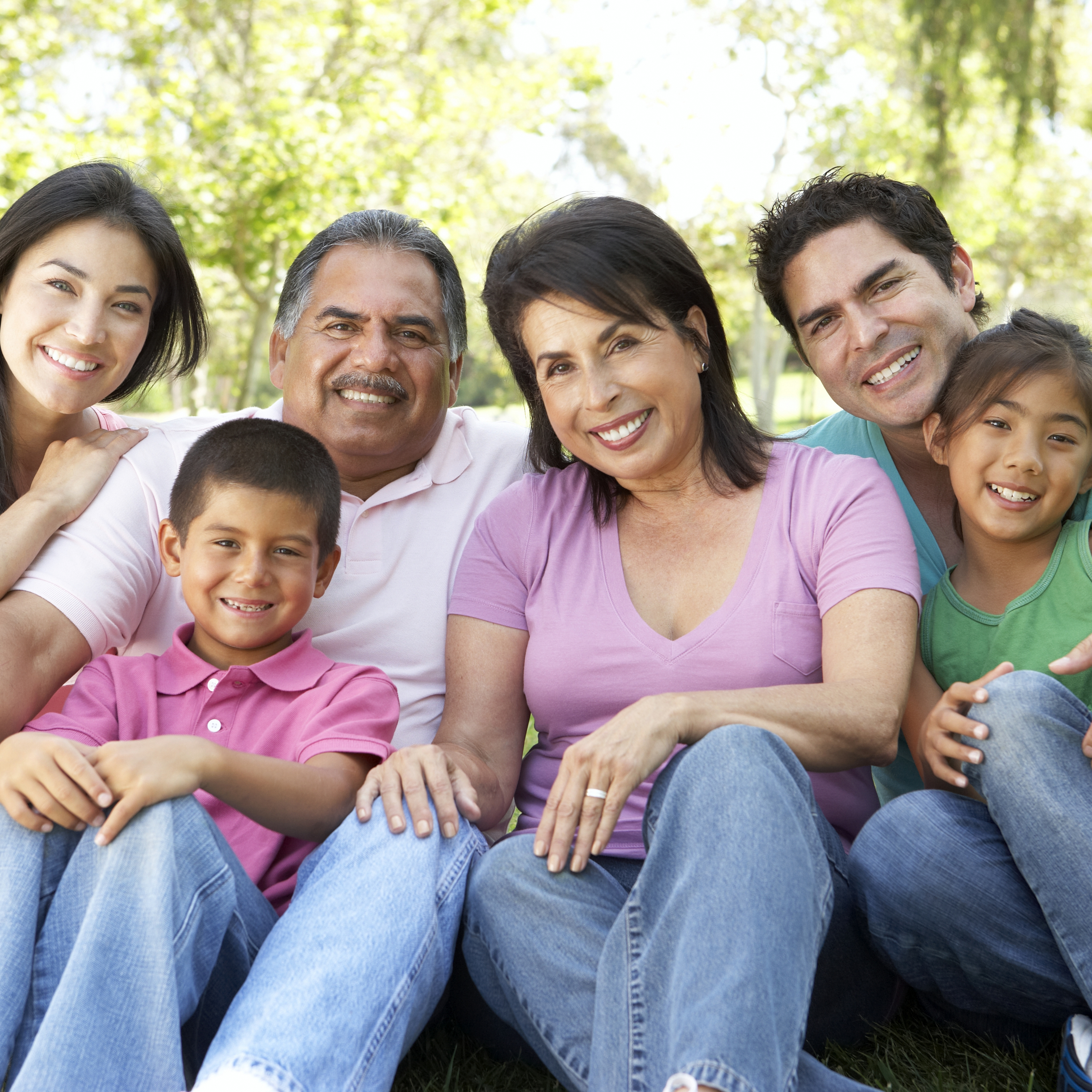 a happy, smiling multi-generational family sitting outside in a park with sunshine and trees