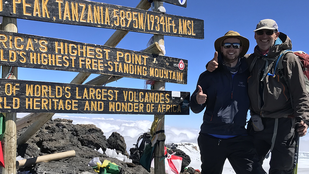 cardiac ablation patient Alan Kostrzewa with his son on the summit of Mount Kilimanjaro