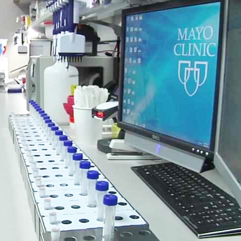 biobank medical research lab with Mayo Clinic shields in computer monitor