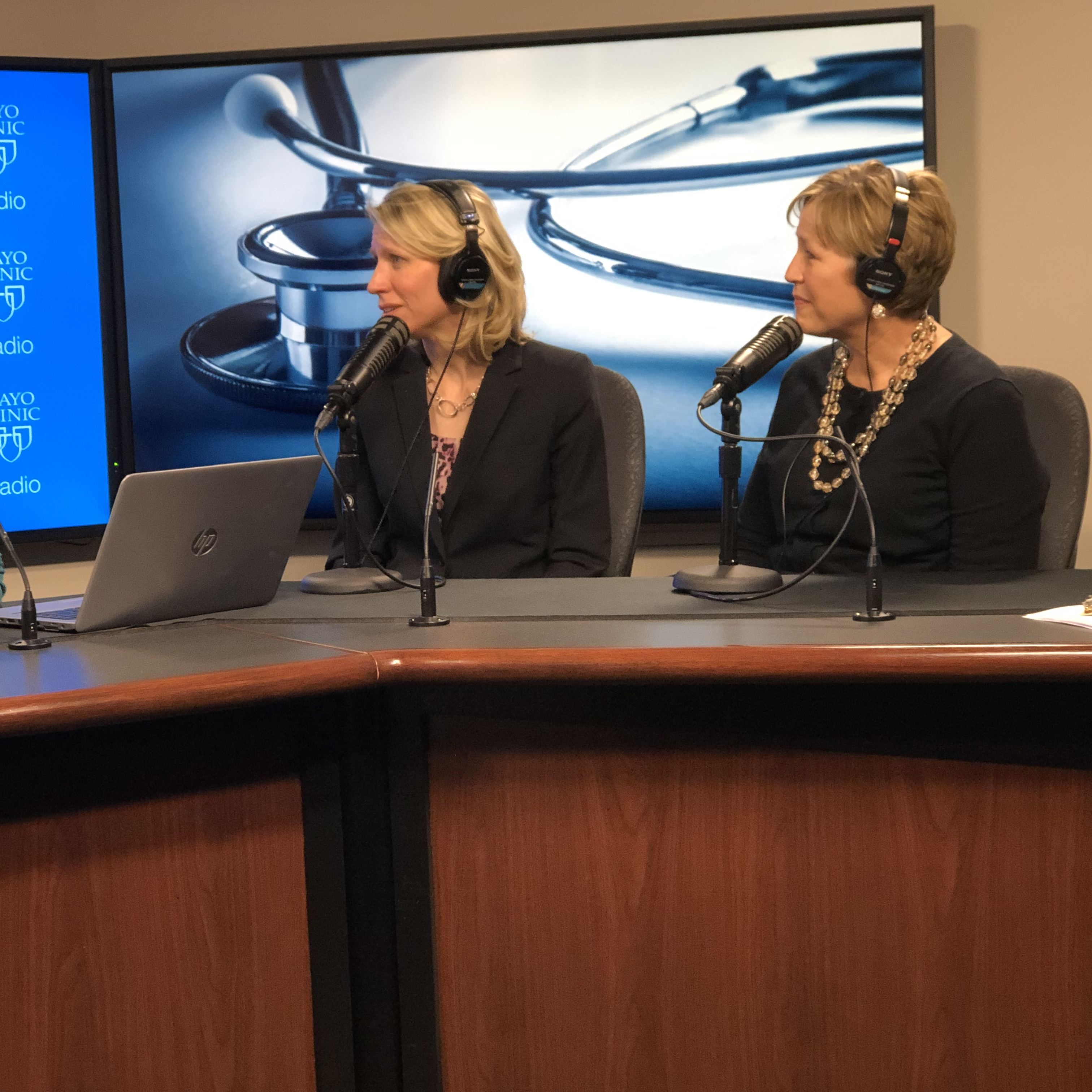 Dr. Carrie Schinstock and Kay Kosberg being interviewed on Mayo Clinic Radio