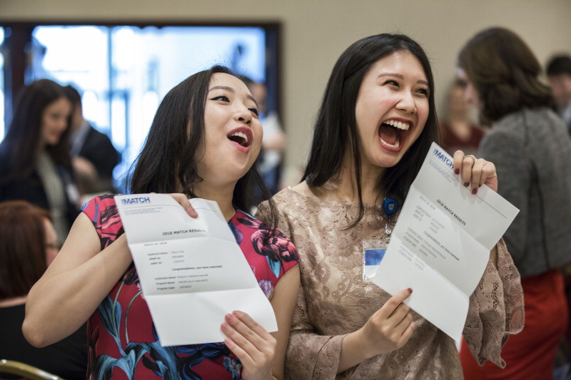 2018 students celebrate the moment of Match Day, a major milestone for every medical student