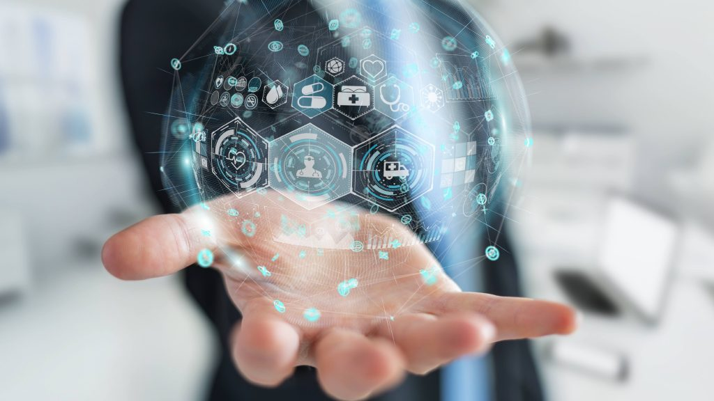 Businessman on blurred background using digital medical sphere 3D rendering