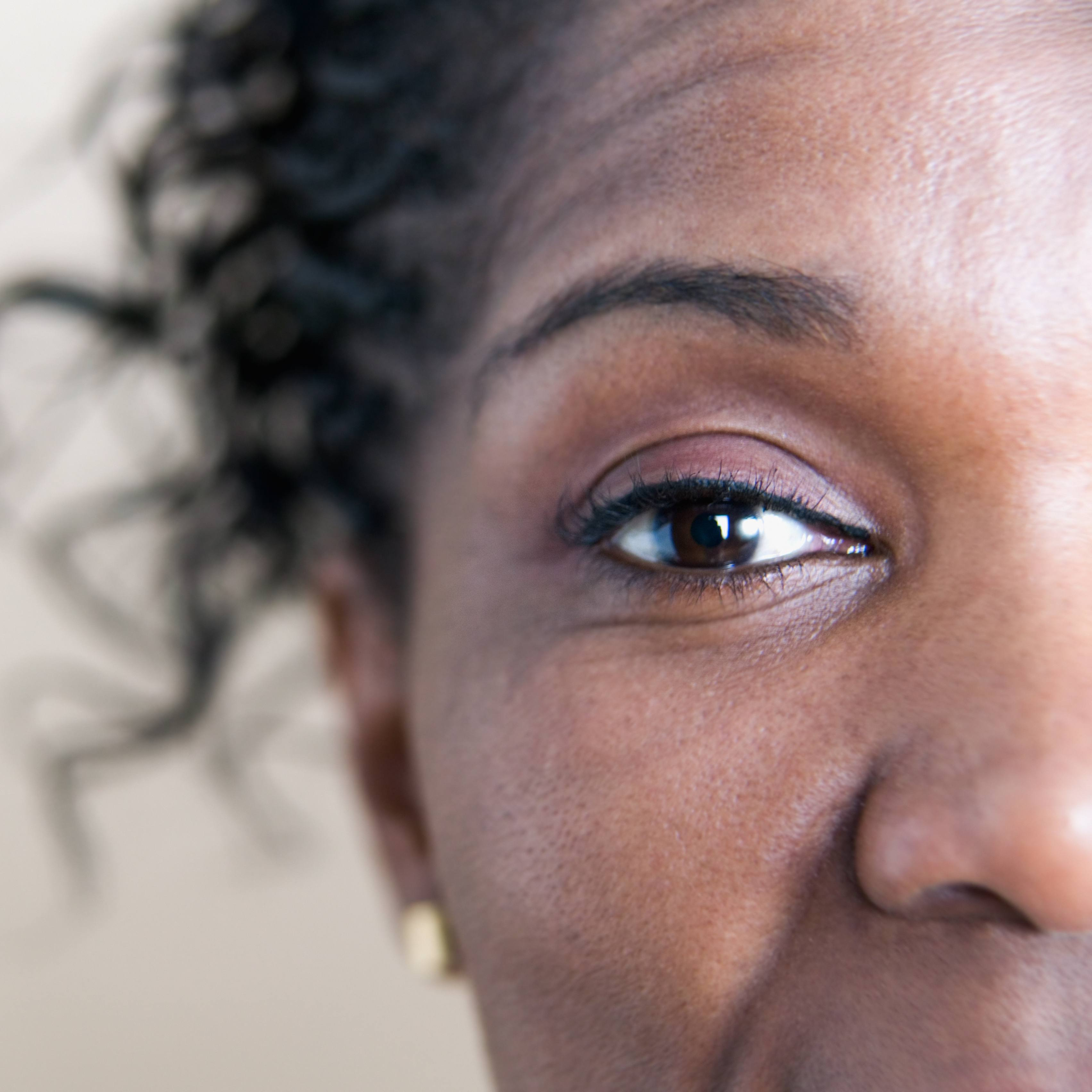 a close-up of a middle-aged woman's right eye