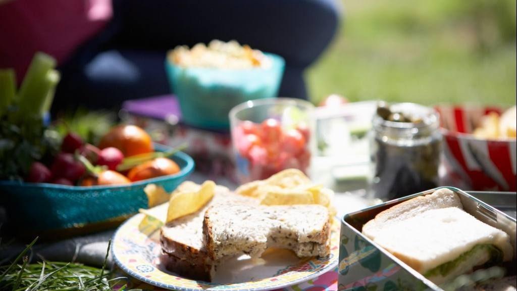 Un picnic en la hierba con sándwiches, papas fritas, frutas y verduras sobre una manta.