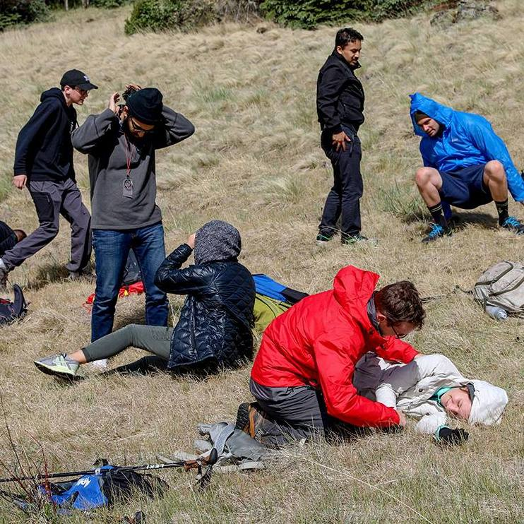 Mayo Clinic Alix School of Medicine students training outside in wilderness environments to practice medicine in emergencies