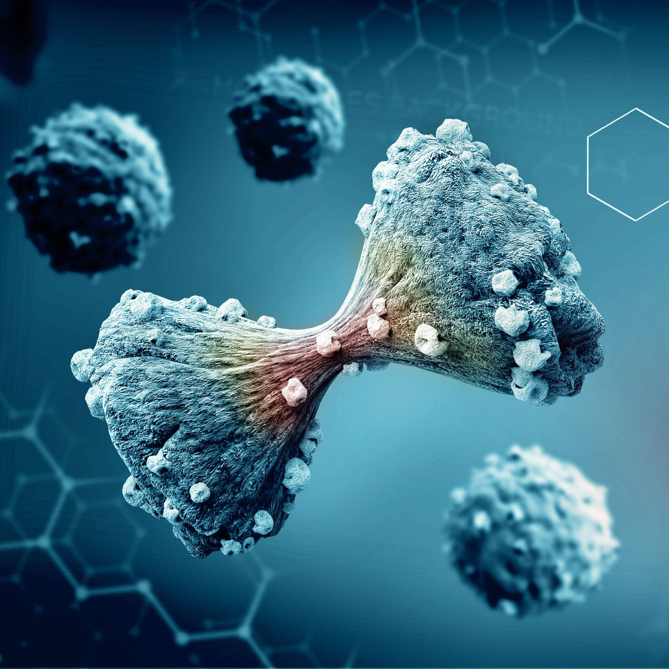 3D illustration of cancer cell dividing