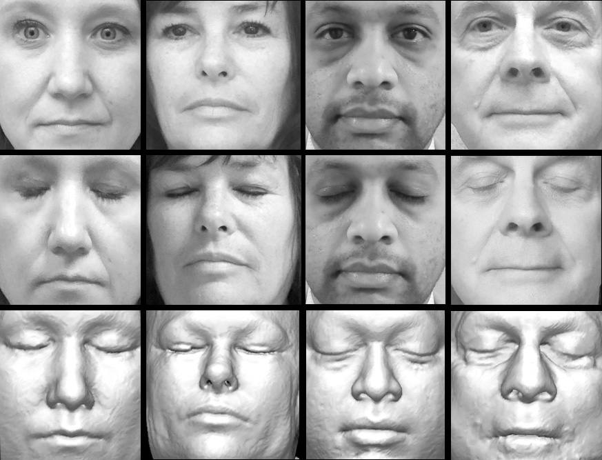 photographs of four participants and corresponding reconstructions of their faces created from their research MRI scans