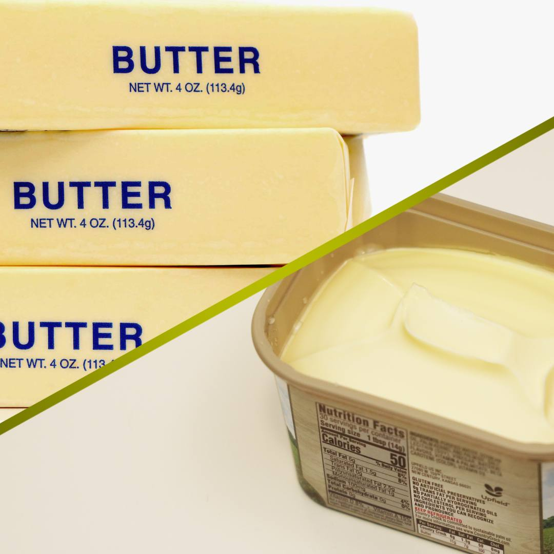 A split screen of sticks of butter and a tub of margarine spread.