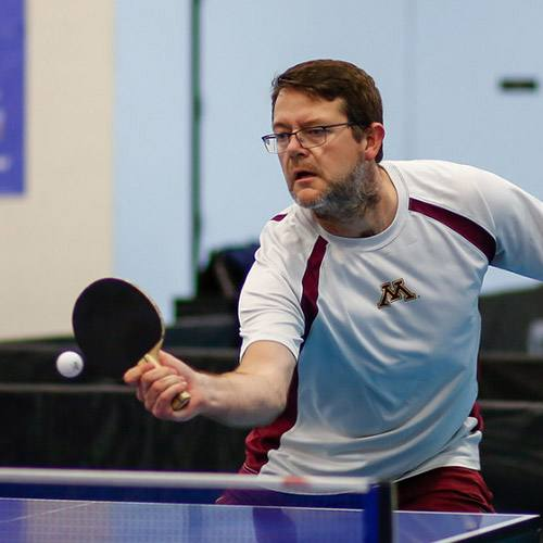 In the Loop patient Steve Grinnell playing ping pong