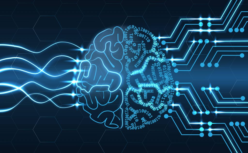 a futuristic looking neon blue graphic image of a wired brain on a dark background representing artificial intelligence