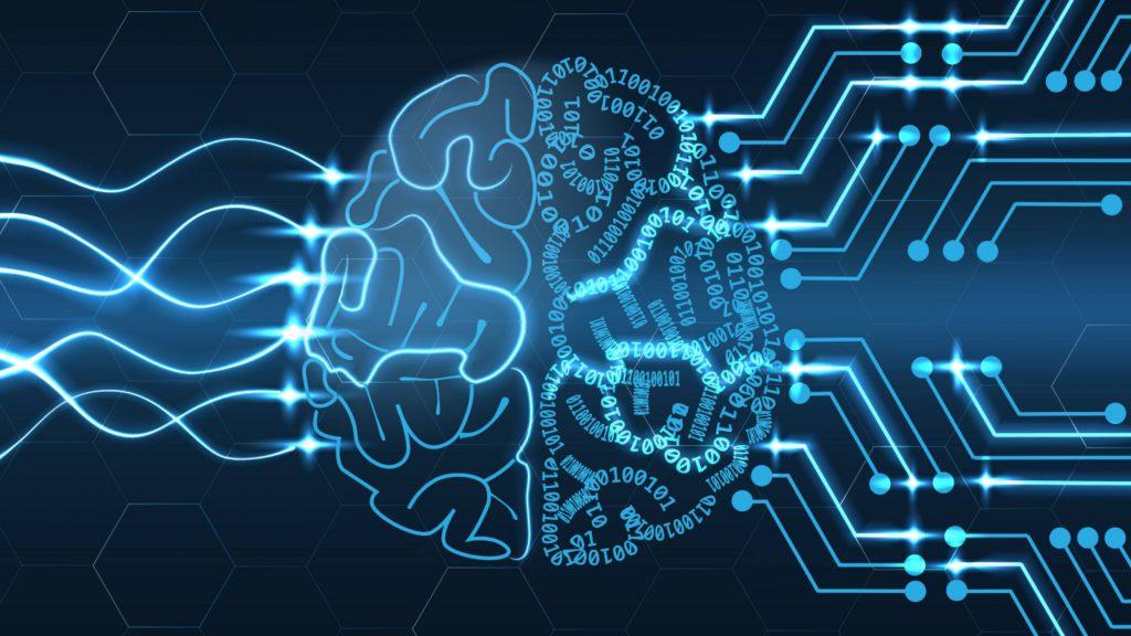 La imagen futurista de un cerebro conectado que representa a la inteligencia artificial aparece sobre un fondo oscuro